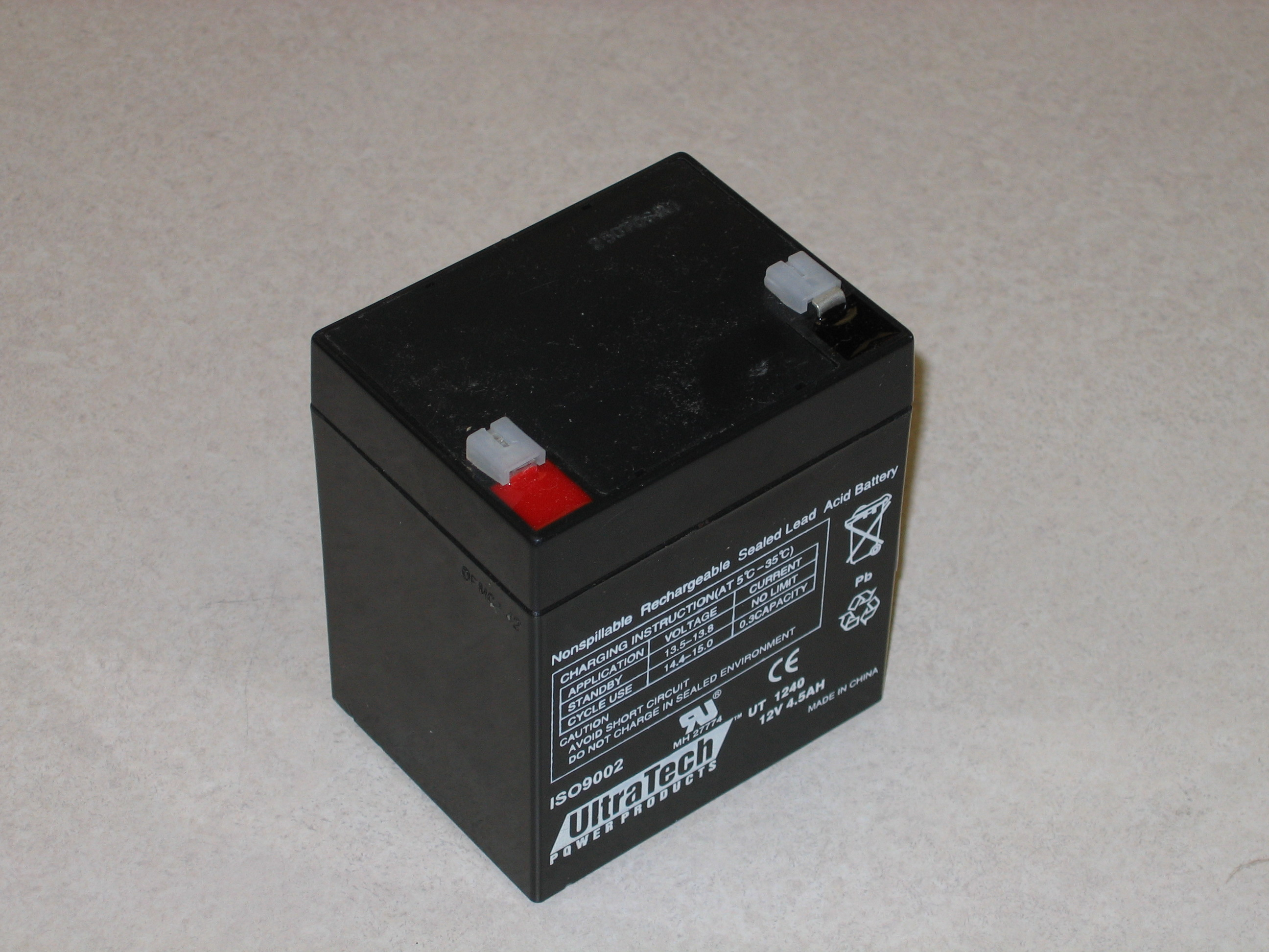 Photograph of a 12V 4.5AH Gel Cell Battery