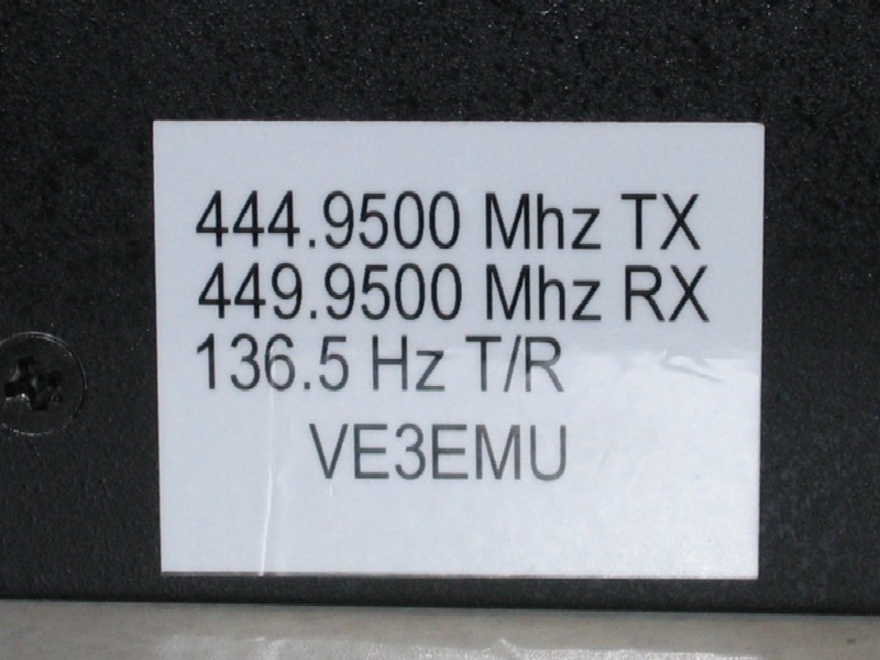 Label on VE3OCE UHF Kenwood Repeater